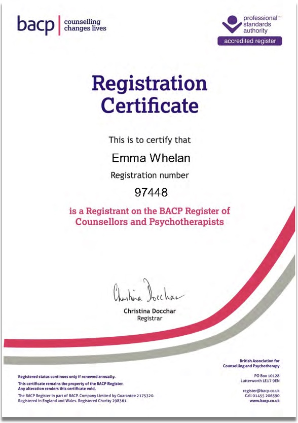 Emma Whelan BACP certificate